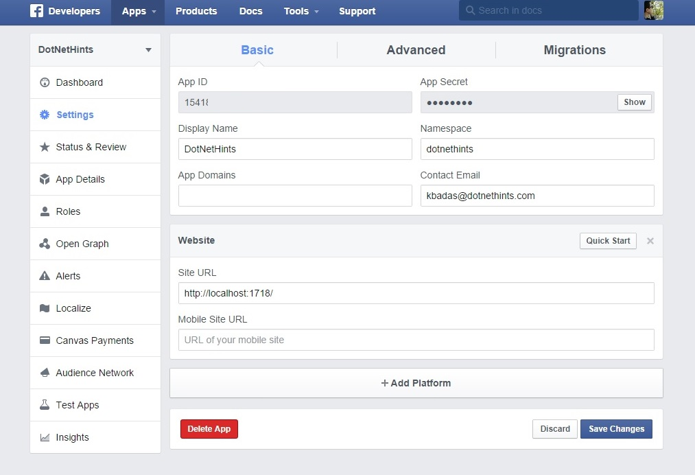 Facebook application set up